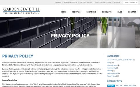 Screenshot of Privacy Page gstile.com - Privacy Policy | Garden State Tile - captured Sept. 27, 2018