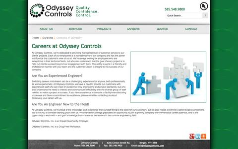Screenshot of Jobs Page odysseycontrols.com - Careers at Odyssey - Odyssey Controls - captured Oct. 27, 2014