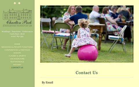 Screenshot of Contact Page charlton-park.org - CONTACT CHARLTON PARK | WEDDING VEWNUE | CORPORATE VENUE | THEATRE | CANTERBURY | KENT - captured Nov. 5, 2016