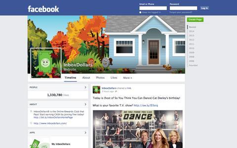 Screenshot of Facebook Page facebook.com - InboxDollars   Facebook - captured Oct. 23, 2014