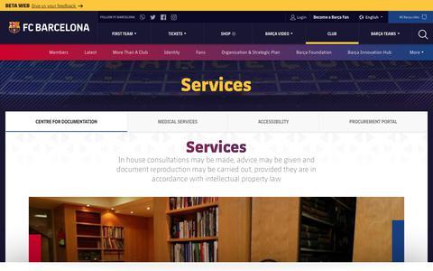 Screenshot of Services Page fcbarcelona.com - Servicios - FC Barcelona Official website - captured Dec. 9, 2018