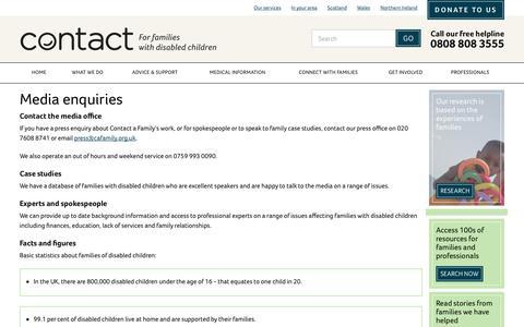 Screenshot of Press Page contact.org.uk - Media enquiries | Contact - captured Oct. 14, 2017