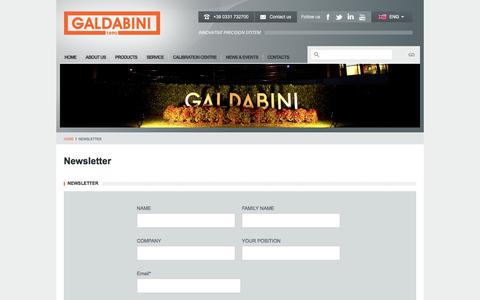 Screenshot of Signup Page galdabini.it - Newsletter - Galdabini - captured Sept. 22, 2014