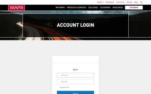 Screenshot of Login Page mapr.com - Account Login | MapR - captured March 21, 2017