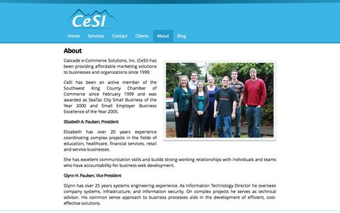 Screenshot of About Page 4cesi.com - About | Cascade e-Commerce Solutions, Inc. - captured Oct. 2, 2014