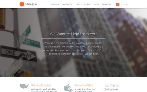 Screenshot of Contact Page phreesia.com - Contact Us — Phreesia.com - captured July 20, 2014