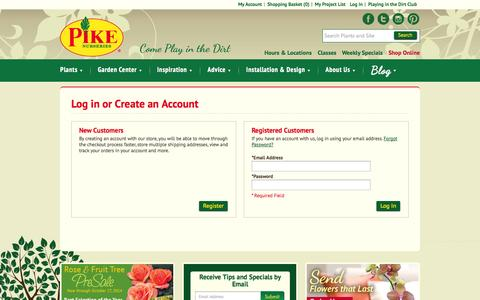 Screenshot of Login Page pikenursery.com - Customer Login - captured Oct. 2, 2014