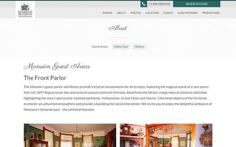 Screenshot of About Page bozemanbedandbreakfast.com - Guest Areas - Bozeman's Lehrkind Mansion Bed and Breakfast - Bozeman - United States - captured June 21, 2016