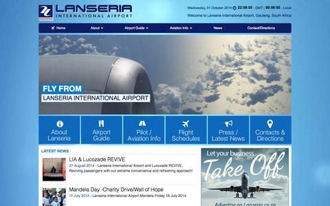 Screenshot of Home Page lanseria.co.za - Lanseria Airport | Home - captured Oct. 2, 2014