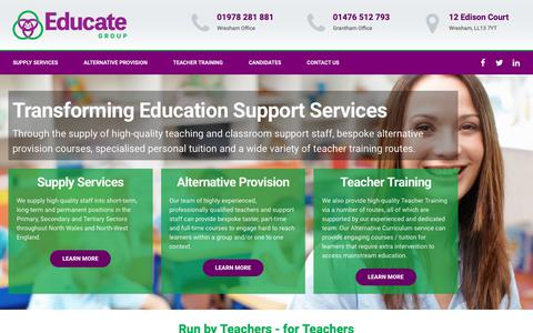 Screenshot of Home Page educate-group.co.uk - Educate Group - Transforming Education Support Services - captured Sept. 27, 2018
