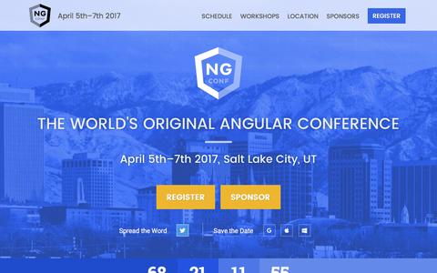 Screenshot of Home Page ng-conf.org - ng-conf April 5th–7th 2017 - The World's Original Angular Conference - captured Jan. 26, 2017