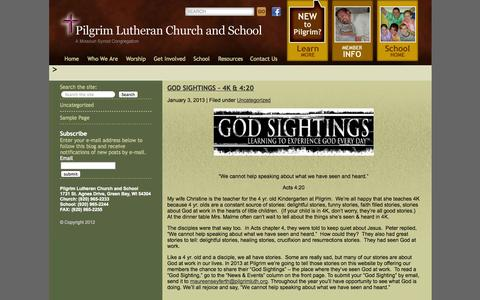 Screenshot of Blog pilgrimluth.com - Pilgrim Lutheran - Pilgrim Lutheran Church and School, Green Bay, Faith, Private School and Daycare - captured Oct. 1, 2014