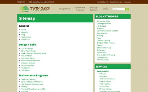Screenshot of Site Map Page twinoakslandscape.biz - Sitemap | Lawn Mowing - captured Oct. 1, 2014
