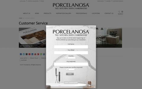 Screenshot of Support Page porcelanosa-usa.com - Customer Service | Porcelanosa - captured Aug. 13, 2017