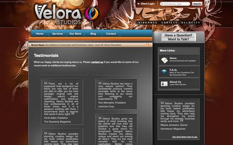 Screenshot of Testimonials Page velorastudios.com - Velora Studios Testimonials - captured Oct. 9, 2014