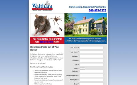 Screenshot of Landing Page walthamservices.com - Waltham Services Pest Control - captured Oct. 27, 2014