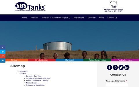 Screenshot of Site Map Page sbstanks.co.za - Sitemap - SBS Tanks - captured Sept. 29, 2017