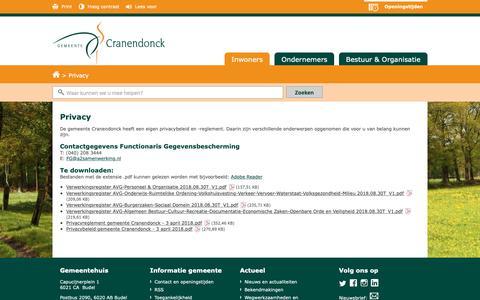 Screenshot of Privacy Page cranendonck.nl - Privacy - Inwoners - Gemeente Cranendonck - captured Sept. 30, 2018
