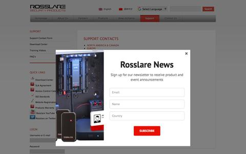 Screenshot of Support Page rosslaresecurity.com - Support Contacts | Rosslare Security Products - captured Nov. 13, 2017