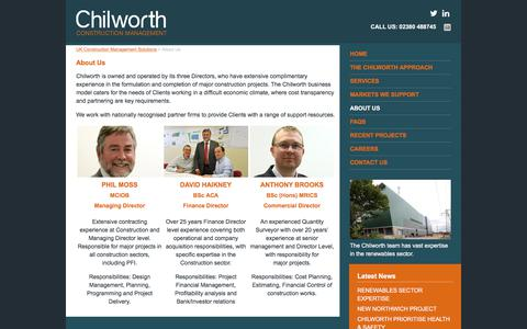 Screenshot of About Page chilworthcm.co.uk - About Us - UK Construction Management Solutions - captured July 29, 2017
