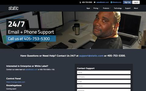Screenshot of Support Page static.com - Static - Support - captured Oct. 1, 2014