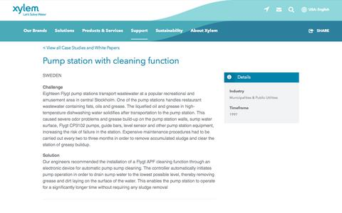 Screenshot of Case Studies Page xylem.com - Case Study: Pump station with cleaning function   Xylem US - captured Nov. 9, 2019
