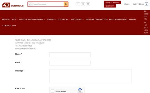 Screenshot of Contact Page 4dcontrols.com.au - Contact Us - captured Nov. 6, 2017