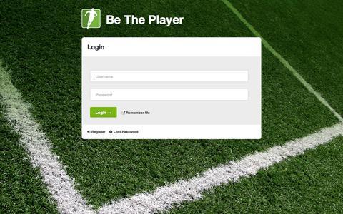 Screenshot of Login Page betheplayer.com - Login - Be The Player - captured Sept. 30, 2014