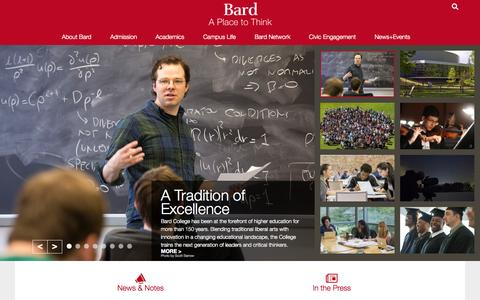 Screenshot of Home Page bard.edu - Bard College - captured Oct. 1, 2015