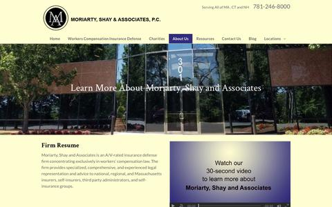 Screenshot of About Page moriartywc.com - About Moriarty, Shay and Associates | Wakefield, MA Attorney - captured Oct. 21, 2017