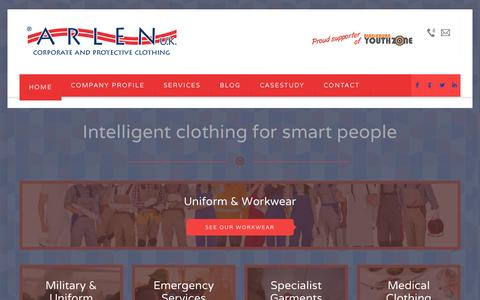 Screenshot of Home Page arlenuk.co.uk - Intelligent clothing for smart people - Workwear and garments - Arlen UKArlen UK - captured Oct. 4, 2014
