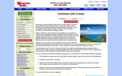 Screenshot of Landing Page vacationstogo.com - Caribbean Cruises, Caribbean Cruise, Cruise Caribbean, Western Caribbean Cruises, Southern Caribbean Cruises - captured Oct. 27, 2014