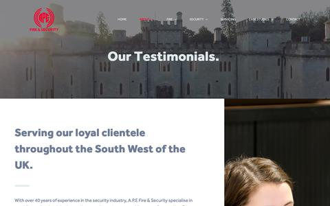 Screenshot of Testimonials Page apefireandsecurity.co.uk - Testimonials | Reliable Security Provider South West | A.P.E Fire & Security - captured Oct. 2, 2018