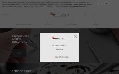 Screenshot of Support Page hamiltonwatch.com - Customer Service | Customer service Hamilton - captured Sept. 27, 2018