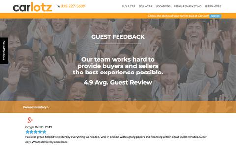Screenshot of Testimonials Page carlotz.com - Customer Testimonials | CarLotz in Virginia and North Carolina - captured Nov. 4, 2019