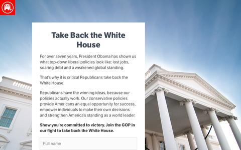Screenshot of Landing Page gop.com - Take Back the White House | GOP - captured Aug. 17, 2016