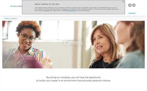 Screenshot of Jobs Page galderma.com - Careers | Nestlé Skin Health - captured Nov. 20, 2018