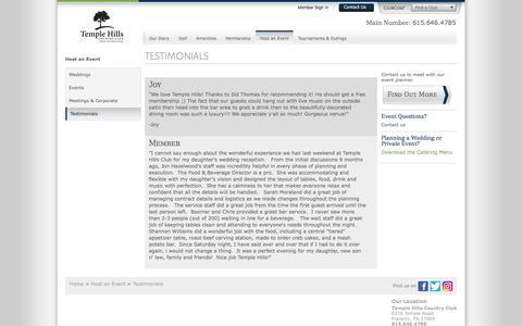 Screenshot of Testimonials Page clubcorp.com - Wedding Testimonials   Temple Hills   Franklin TN - captured Dec. 22, 2016