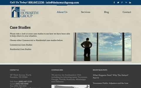 Screenshot of Case Studies Page thehowarthgroup.com - Case Studies   The Howarth Group   Public Insurance Adjusters - captured Feb. 25, 2016