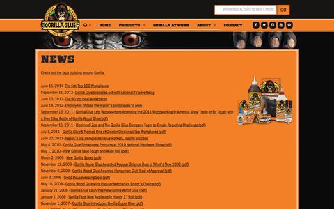 Screenshot of Press Page gorillatough.com - The Gorilla Glue Company | News | Releases | Updates - captured Nov. 3, 2014