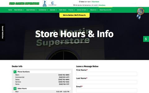 Screenshot of Contact Page Hours Page fredmartinsuperstore.com - Contact Us | Fred Martin Superstore | Barberton, OH Car Dealership - captured Oct. 14, 2017