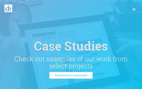 Screenshot of Case Studies Page debreeze.com - Work - deBreeze Interactive - captured Oct. 13, 2017