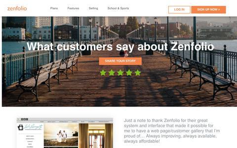 Screenshot of Testimonials Page zenfolio.com - Zenfolio - Reviews - captured June 28, 2017
