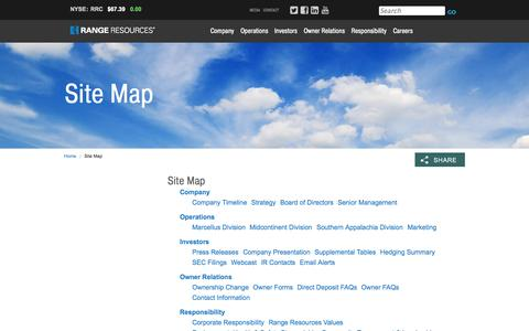 Screenshot of Site Map Page rangeresources.com - Range Resources - Site Map - captured Oct. 29, 2014