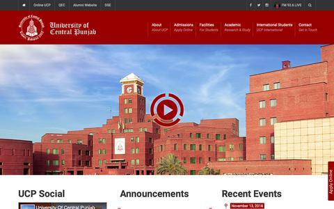 Screenshot of Home Page ucp.edu.pk - University of Central Punjab - captured Nov. 15, 2018