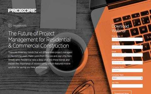 Screenshot of Landing Page procore.com - The Future of Project Management - captured March 23, 2016