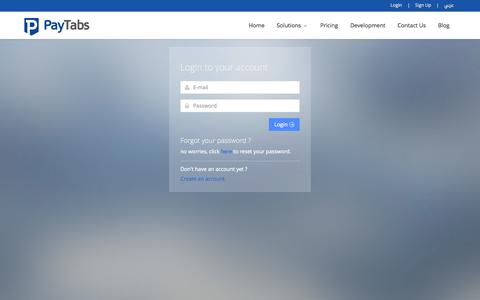 Screenshot of Login Page paytabs.co - PayTabs - Simple & Trusted Payments - captured Oct. 10, 2014