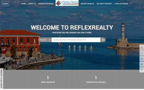 Screenshot of Home Page reflexrealty.com - Reflex Realty, Residential flats / apartments in Mumbai, Commercial Properties in Mumbai, Brokers in Mumbai - captured Jan. 22, 2016