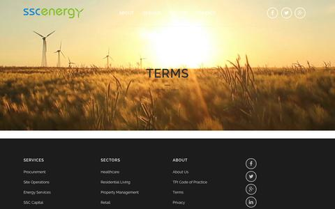 Screenshot of Terms Page sscenergy.co.uk - Terms - SSC Energy - captured Oct. 27, 2014