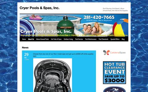 Screenshot of Press Page cryerpools.com - News | Cryer Pools & Spas, Inc. - captured Feb. 1, 2016